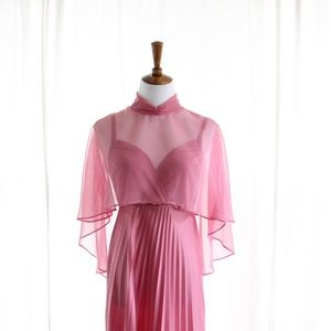 70s Vintage Pleated Maxi Dress Cape Bridesmaid
